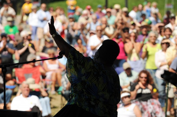 Blues singer Sister Monica parker plays a gospel set on the Bangor Daily News Railroad Stage during the American Folk Festival on the Bangor Waterfront last summer.