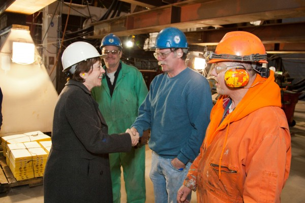 Sen. Susan Collins on Tuesday toured the future USS Zumwalt, the first of three DDG 1000 stealth destroyers to be built at Bath Iron Works.