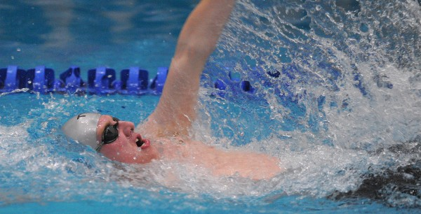 Bangor High School's Liam Reading swims the backstroke leg of the 200-yard individual medley during the boys PVC Swimming and Diving Championship at Husson University in Bangor on Friday. Reading won the event with the time of 2:03.39.