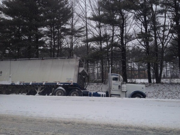 This tractor-trailer snarled traffic on Interstate 95 in Bangor Wednesday morning.