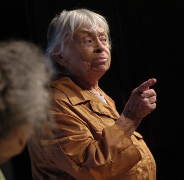 Mary Grace Canfield of Sedgwick portrays a Maine lobsterman onstage in 2006.