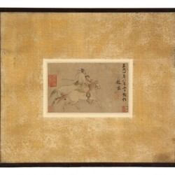 Chinese Yuan Dynasty painting on silk depicting a warrior riding two horses was the auction's top lot, achieving a price of $28,750