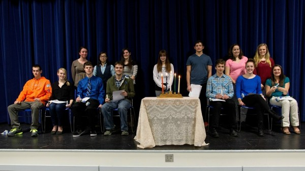 Front row, 7 new NHS inductees (l-r):  Connor Fraser, Meagan McKeon, Logan Staples, Gabe Libby, Ari Jihan, Briana Grant, Brittany Ward