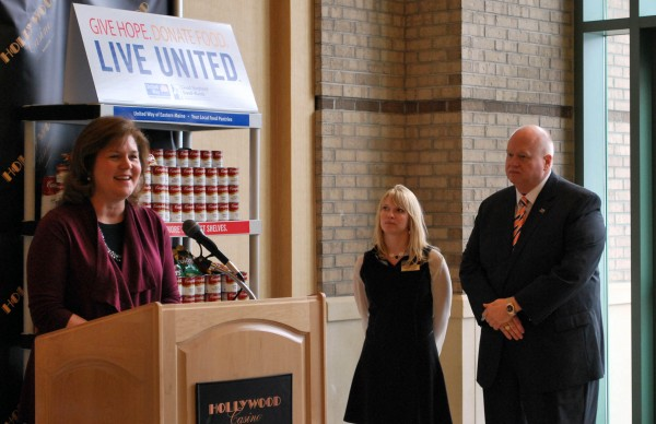 Melissa Huston of Good Shepherd Food Bank speaks during a press conference at Hollywood Casino Bangor announcing the kick off for the 2014 United Way Pantry Project. In the background, Michele Collins of Hollywood Casino, and John Kuropchak of United Way of Eastern Maine.