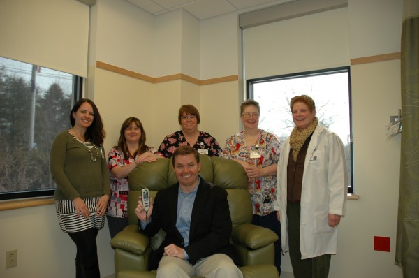Pictured (Standing L-R) Mary Dow Center staff: Melissa Nowell, Velma Thomas, Mary Brown, Julie Tuell, Kathleen Cravens.  Seated: Mark Politte of Stanley Subaru.