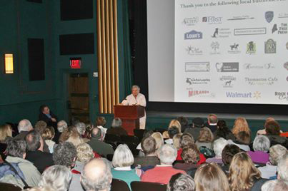&quotDogtripping&quot author David Rosenfelt speaks to a packed house at Rockland's Strand Theatre at PMHSKC's Feb. 6 fundraiser event