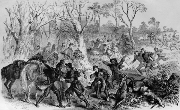 In mid-February 1864, Union cavalrymen patrolling the Virginia Tidewater rescue escaped Federal prisoners from pursuing Confederate cavalrymen (right, in the distance). The prisoners had crawled through a hand-dug tunnel to escape from the infamous Libby Prison in Richmond on Feb. 9. Charles Tilden of Castine was among the prisoners who got away.