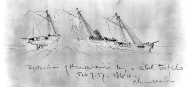 A combat artist sketched the moment when the torpedo carried by the CSS Hunley, a Confederate submarine, exploded against the starboard quarter of the USS Housatonic on Saturday, Feb. 17, 1864. Orland sailor John K. Crosby was officer of the deck aboard the Housatonic that night; he and a lookout simultaneously spotted the approaching Hunley and sounded the alarm.