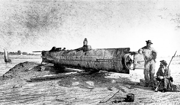 The CSS Hunley, a primitive Confederate submarine, lies atop a dock at Charleston, S.C. in this wartime sketch. On Saturday, Feb. 17, 1864, the submarine and its crew departed Charleston to attack Union warships patrolling off the Charleston Bar. The Hunley succeeded in torpedoing the USS Housatonic.
