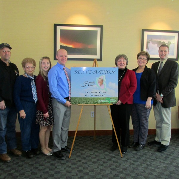 A picture of Hope: From left to right: Tim Graham, Jean Pelkey, Mandy Graham, Dustin Graham, Aroostook Aspirations President Sandy Gauvin, Executive Director April Flagg, Vice President Jason Parent