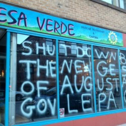 "HHRC Responds to ""Gestapo"" Graffiti on Portland Restaurant Window"