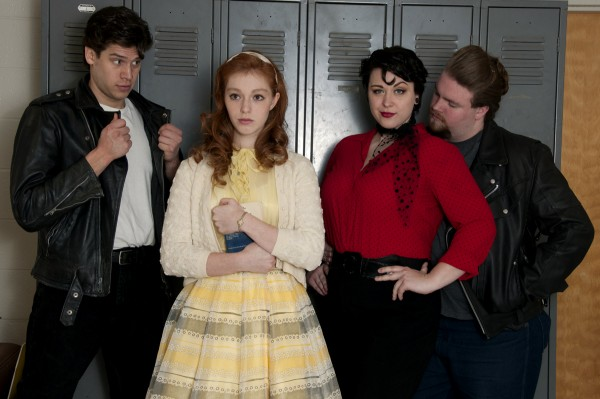 "Rehearsing their lead roles in the University of Maine production of ""Grease"" are (from left) Ira Kramer as Danny, Hope Milne as Sandy, Allisen Donovan as Rizzo, and Andrew Cotterly as Kenickie."