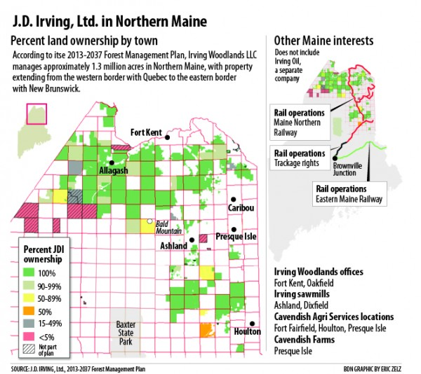 A map of Irving land in Maine