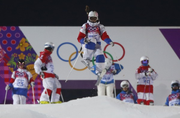 Russian freestyle skier Maria Komissarova practices during a night training session for the 2014 Sochi Winter Olympics at the extreme park in Rosa Khutor, Russia February 2, 2014.