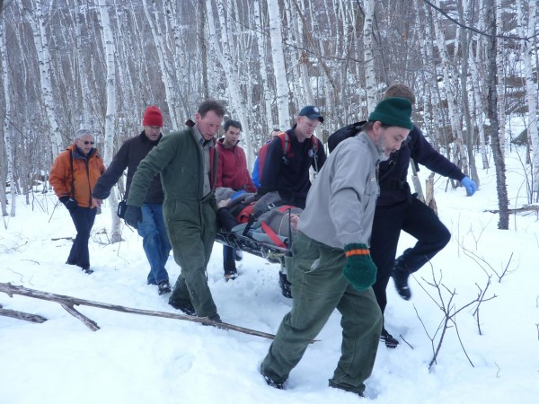 An Orono man injured his back Saturday when he fell about 20 feet while ice climbing on Champlain Mountain, according to a park ranger.