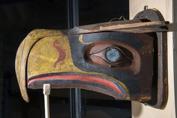 Photo cutline: A curator of Native American art at the University of Washington says a carved Northwest Coast transformation mask on display at the University of Maine's Hudson Museum may be the inspiration for the original Seattle Seahawks logo.