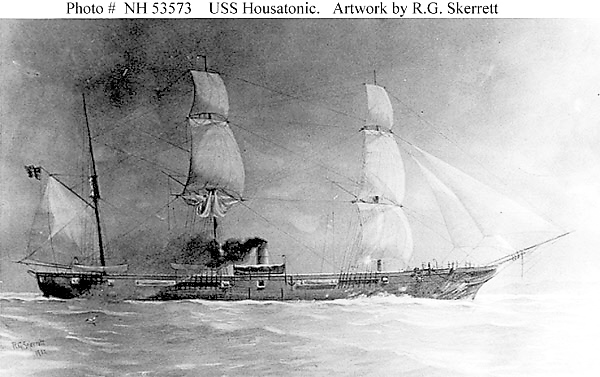 Launched at Boston in November 1861, the USS Housatonic was a 1,240-ton steam sloop assigned to the South Atlantic Blockading Squadron in mid-September 1862. Sailor John K. Crosby of Orland was assigned to the ship.