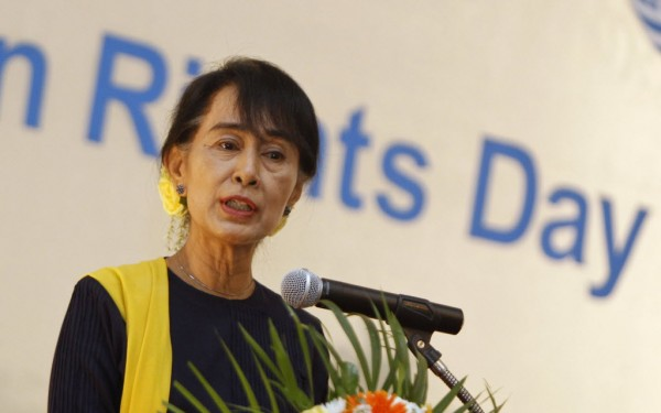 In this December 2012 file photo, Myanmar pro-democracy leader Aung San Suu Kyi gives a speech on Human Rights Day at Inya Lake hotel in Yangon.