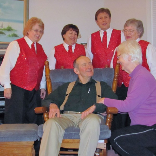 Out on a Whim presents a Singing Valentine to Al Spencer from his wife Janet in 2013.
