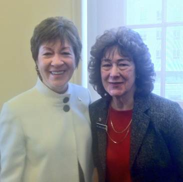 U.S. Sen. Susan Collins was welcomed at the Statehouse by State Rep. Carol McElwee of Caribou recently.