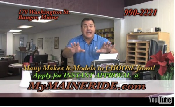 This screenshot of a YouTube video shows an advertisement by My Maine Ride.