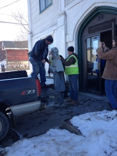 Orono Historical Society recently moved the statue part of Orono's Civil War Monument. Photo by Mary Ann Eason.