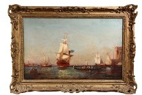 Oil on canvas painting depicting a large ship arriving at The Basin, Venice by Felix Ziem (France, 1821-1911) that sold for $24,150