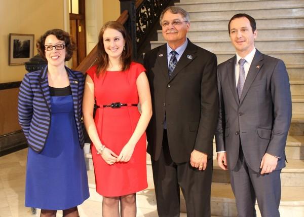 Marianne Bonnard of Quebec, Melanie Saucier of Fort Kent, Rep. Ken Theriault, D-Madawaska, and Fabien Fieschi of France.