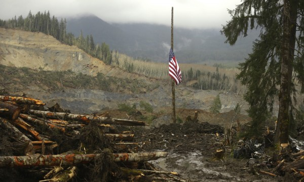 A flag flies at half-staff on a log with the slope of the massive mudslide that struck Oso in the background near Darrington, Washington March 30, 2014.