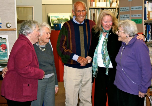 Bob and Jan Marville (center and far right) have given the former Liberty School property to the Bagaduce Music Lending Library in Blue Hill.
