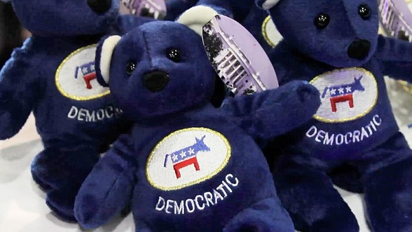Furry blue Democrat Party teddy bears are displayed on a table at the Maine Democratic Convention in Augusta in 2012.