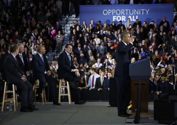 U.S. President Barack Obama delivers remarks on raising the minimum wage at Central Connecticut State University in New Britain, Conn. on March 5, 2014.