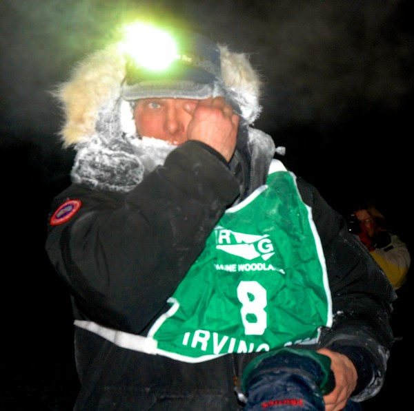 Martin Massicotte wipes the frost from his eyes just after crossing the Can Am Crown Irving Woodlands 250 Sled Dog Race early Monday morning. Massicotte edged out fellow musher Andre Longchamp for his fifth career Can Am win.