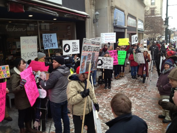 Pro-choice protesters gather near Planned Parenthood on Congress Street in Portland.