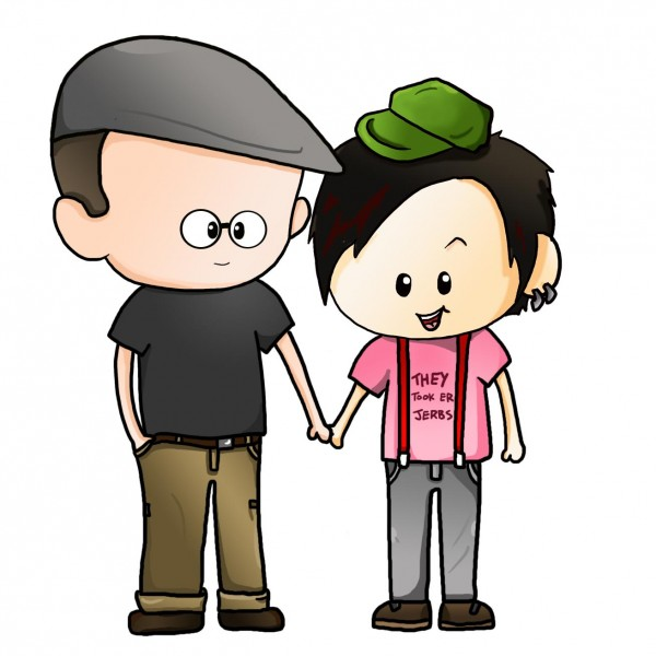 A cartoon representation of Atom (left) and Hanji (right) O'Chang, the creators of O'Chang Comics.