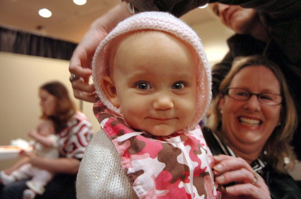 Ora Bates is prepared for her close-up as part of the &quotCasting Call for Future Faces of Maine&quot by her mother Nicole Bates (upper right) of Glenburn and her grandmother Mary Beth Morris in 2009 at the Bangor Mall.