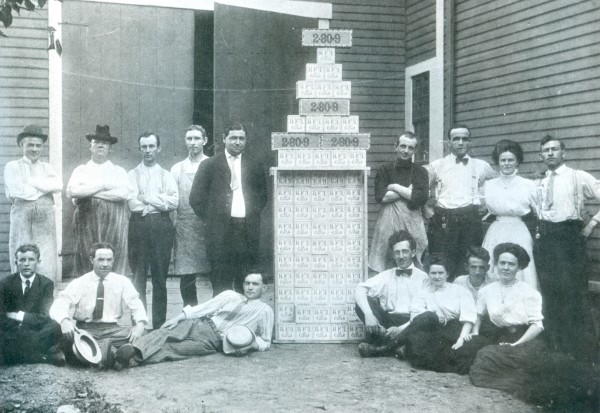 Cigar manufacturers pose at their Bangor factory in 1905.