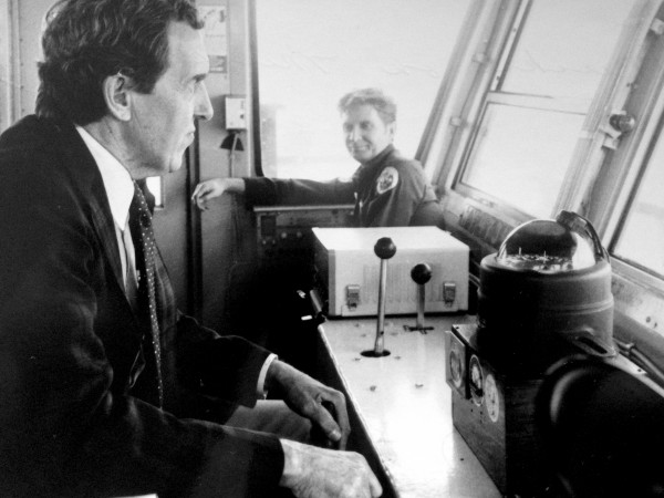 Edmund Muskie drives the Governor Muskie Ferry. April 21, 1979