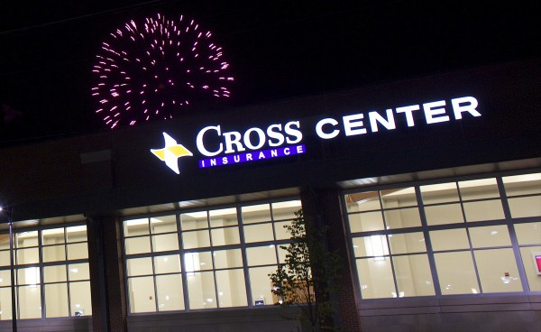 Fireworks light up the sky over the Cross Insurance Center on Main Street in Bangor after a public open house for the new building.
