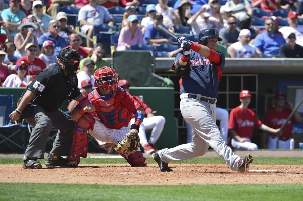 Boston Red Sox catcher A.J. Pierzynski (40) hits a RBI triple in the sixth inning against the Philadelphia Phillies at Bright House Field recently.