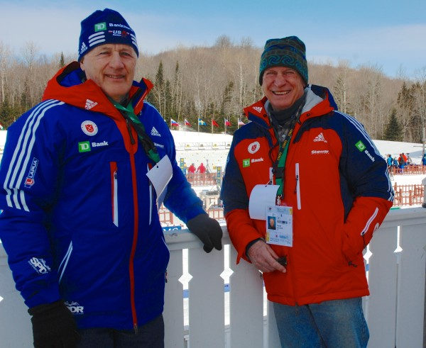 USBA board members and longtime biathlon athletes and coaches Art Stegen (left) and Charlie Kellogg were at the Nordic Heritage Center this week for the IBU Youth/Junior World Biathlon Championships.