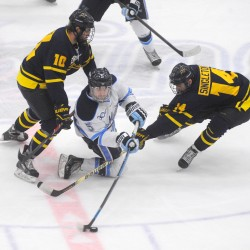 Lomberg, Ouellette help UMaine hockey team hold off Merrimack