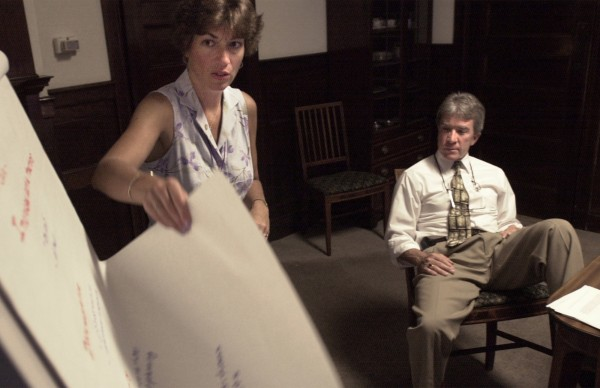 Mary Louise McEwen goes through charts that describe steps she is taking to improve care at Bangor Mental Health Institute, of which she was superintendent, in this 2002 file photo.