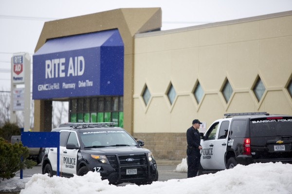 Bangor police and sheriffs responded to the report of a robbery at Rite Aid on Broadway in Bangor. The report came out at 10:04 a.m. Friday and police searching for a suspect.
