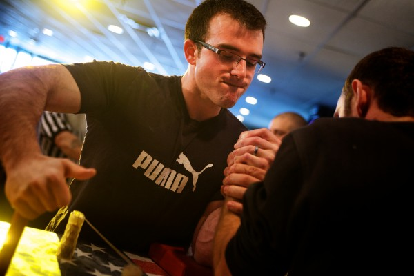 Matthew Bouchard, an accountant from Caribou, gets ready to compete Saturday afternoon at the 2014 Maine State Armwrestling Championship in South Portland. Bouchard went on to win his left hand weight division.