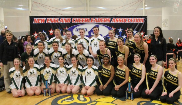 The Husson University cheering and dance teams show off their first-place trophies after the New England Cheerleading & Dance Team Open Championships Saturday in East Haven, Conn. Team members are (front row, from left) Bri Missler, Samantha Campbell, Danielle Gough, Danielle Diaz, Karen McLeod, Tia Hardy, Vita Gould, Arial Farrar, Melesa Punsky, Rosie Conary,  Laurel Whipkey; (second row) head coach Buffie McCue, Kristena Strout, Ashley Blake, Kat Dickens, Eliza Talbot, Allison Murphy, Becky Jacobs, Kassandra Primatello; and (third row) Tatiana Andrews-Romain, Kendra Page, Emily Higgins, Ambyr Sargent, John Costello, Sarah Calnan, Meghan Frank, Hallee Breton, and assistant coach Hillary Hoyt.