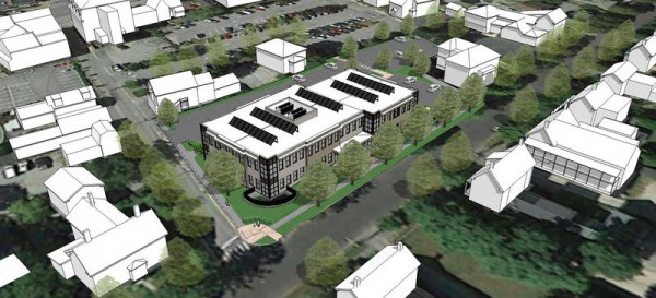 A rendering shows an aerial view of Coastal Enterprises' proposed headquarters in Brunswick. The Federal Street building will be smaller than the combined volume of the two municipal buildings it would replace.