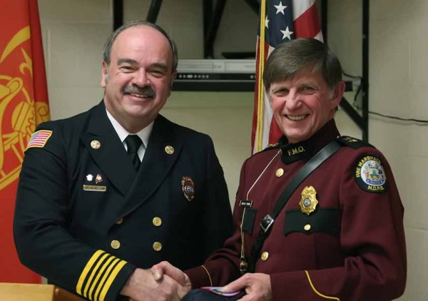 Joseph Thomas (right), Maine' state fire marshal, was the featured speaker Saturday at the Houlton Fire Department''s annual awards dinner and recognition ceremony. With Thomas is Houlton Fire Chief Milton Cone.