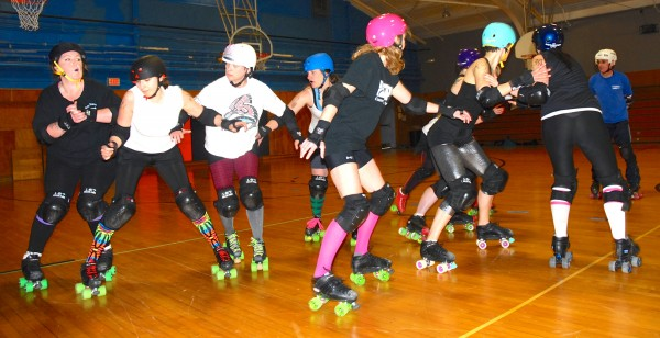 Members of the Aroostook Roller Derby League practice their skills and speed Saturday in Limestone.