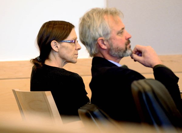 Roxanne Jeskey, 50, sits beside attorney David Bate in Penobscot Judicial Center on Jan. 2, 2013.